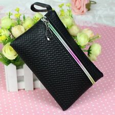 Women's PU Purse Wristlet Zipper Wallet Change Coin Bags Makeup Phone Key Case