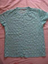 NEW WOMEN'S CLOTHES MINT GREEN  TOP T SHIRT LACE EFFECT ES/PT 36 D 34 UK SIZE 8