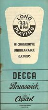 DECCA LPs RECORD CATALOGUE SUPPLEMENT 1951 01 jan - 3rd release microgroove LPs