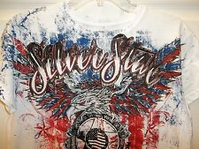 NWT Silver Star Buckle Red White Blue Eagle Feathers Military Shirt XL X-Large