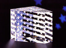 NEW in BOX STEUBEN glass STARS STRIPES USA paperweight PRISM flag Old Glory