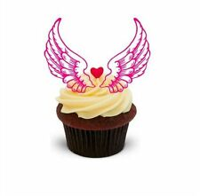 NOVELTY FAIRY ANGEL WINGS Pink 12 STANDUPS Edible Image Cake Toppers Birthday