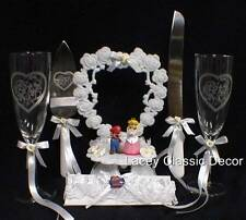 SUPER Mario Wedding Cake Topper LOT Glasses Knife Server Princess Peach Video