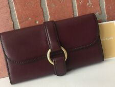 MICHAEL KORS QUINCY LARGE CARRYALL SMOOTH LEATHER WALLET IN PLUM,NWT