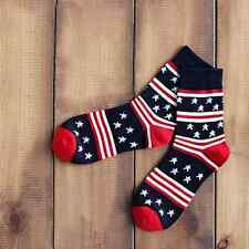 American Flag Socks Patriotic Stars and Stripes 10-13 or 6-12 NEW NAVY