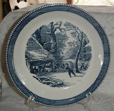 """CURRIER & IVES ROYAL CHINA BLUE ROUND SERVING PIE PLATE 10"""" COWS FARMER HAY SNOW"""
