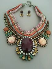 Bib Necklace Boho Mixed Stone Rope Aged Metal Multi Colored Detail NWT