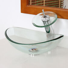 ELITE Tempered Clear Oval Small Glass Vessel Sink & Chrome Waterfall Faucet