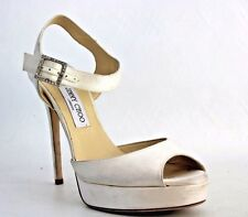 Jimmy Choo Women's Linda Satin Platform Sandal in White Size 41.5 (S1762)