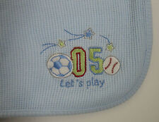 Baby Connection Blue Thermal Knit Blanket Soccer & Basebal 27 x 34
