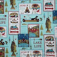 BonEful Fabric FQ Cotton Quilt Log Cabin Lab Dog Boat RV Camp Lake Scenic Fish S