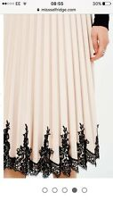 NEW MISS SELFRIDGE NUDE FAUX LEATHER PLEATED  MIDI SKIRT6 to 14 RRP £75