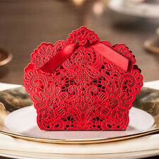 50 PCS Red Luxury Wedding Party Sweets Cake Candy Gift Favour Favor Boxes Bags