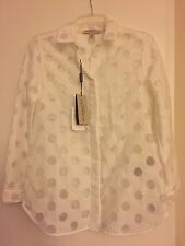 NWT Burberry London White Shirt Blouse Dots Circles $750 – Size 4