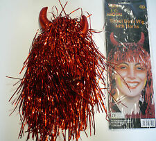 Halloween/Fancydress Red Devil Tinsel Wig With Devil Horns