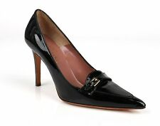 VALENTINO GARAVANI BLACK PATENT LEATHER POINTED TOE BUCKLE DETAIL PUMPS HEELS 36