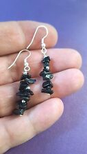 Black Tourmaline Gem Chip Earrings Protective, Metal Beads, Reiki Charge Healing