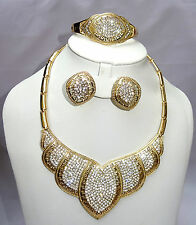 Rhinestone Gold Plated Fashion Women Necklace Earring Party Bridal Jewellery Set