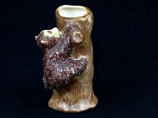 Vintage Ceramic Bear Cub Climbing A Tree Bud Vase or Brush/Pen Container