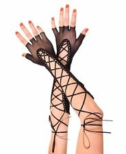 Long Black Fingerless Fishnet Ribbon Lace Up Gloves Sexy Designer Lingerie P433
