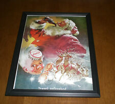 1949 COCA COLA COKE & SANTA CLAUS FRAMED COLOR AD PRINT - TRAVEL REFRESHED