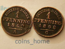 C*H Lot 2 Circulated 1860A,1868C 1 pfennig  Prussia Germany copper coins set#sn4