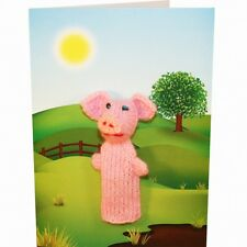 Pig Hand Knitted Puppet Greeting Card