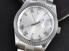 Parnis  40mm Sapphire Glass Sterile Silver Dial Date Men Automatic Watch PA