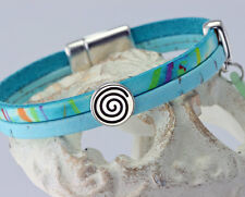 Aquamarine Leather and Vegan Leather (Portuguese Cork) Silver Wrap Bracelet