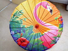 JAPANESE L 82cm PINK FLAMINGO BIRD YELLOW PAPER PARASOL CHINESE WEDDING PARTY