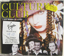 CULTURE CLUB CD I Just Wanna Be Loved 3 Track UK DJ RADIO PROMO w/ Stickers Mint