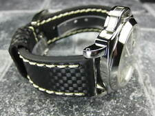 New CARBON Fiber 20mm LEATHER STRAP Band Black with Beige Stitch OMEGA 20 X1