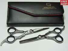 "6"" Professional Hand Carved Hair Cutting Scissors & Thinning Shears Salon Set"