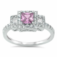 AVAILABLE IN 7 COLORS CZ GEMSTONE .925 Sterling Silver Ring sizes 4-12