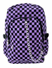 PURPLE CHECK Backpack Rucksack School College Goth Rock Emo Punk Checker Bag