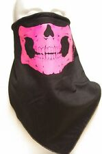 Pink Skull Jaw fleece lined bandana motorcycle skiing face mask