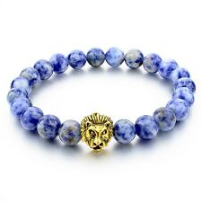 Mens Handmade Beaded Blue Sodalite Gold Plated Lion Head Bead Bracelet 8mm
