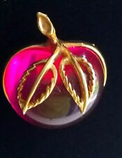 Vtg SARAH COVENTRY Brooch Pin Fuchsia Pink Lucite Apple Gold Tone