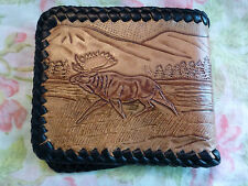 Tooled Stitched Leather Wallet Moose Outdoors Wilderness