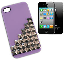 COVER CASE FLIP X IPHONE 4 STUDS SILVER PLATED PLASTIC LILAC VIOLA Y