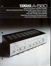 Rare Collectible Yamaha A-560 Stereo Amplifier/Amp Dealer Brochure Info Ad