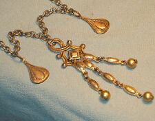 Antique EDWARDIAN BRASS DANGLE CHATELAIN NECKLACE Asian-Influenced Lavalier