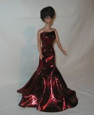 "Handmade Red Foil Knit Mermaid Barbie Dress for Barbie Or 11 1/2"" Doll"