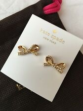 New Kate Spade Skinny Mini Pave Crystal Bow Earrings Gold $48