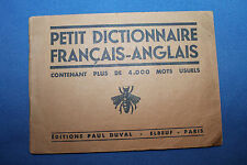 "WW1 FRENCH TO ENGLISH ""FRANCAIS - ANGLAIS""  DICTIONARY FOR SOLDIERS"