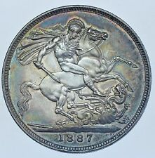 1887 CROWN BRITISH SILVER COIN FROM VICTORIA aEF