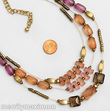 Chico's Signed Necklace Gold Tone Frosted Pastel Purple Orange Pink Multi Strand