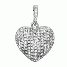 Gorgeous Puffed Heart Pendant .925 Sterling Silver White Crystals CZ