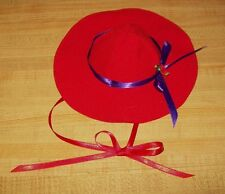 """12-16"""" CPK Cabbage Patch Kids RED HAT LADY  RED HAT W/ PURPLE RIBBON+ RED FLOWER"""