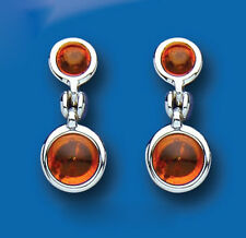 Sterling Silver Real Amber Rounds Drop Earrings Hallmarked